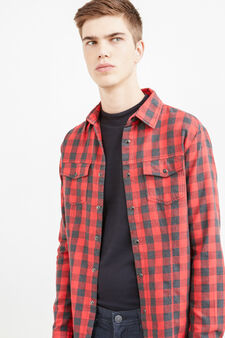 Casual check shirt with bluff collar, Grey/Red, hi-res
