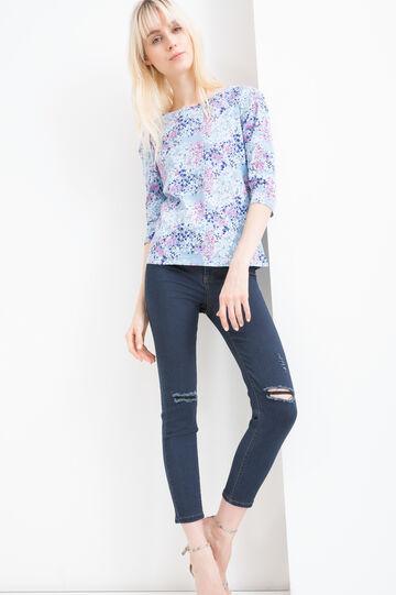 100% cotton T-shirt with floral print, Blue, hi-res