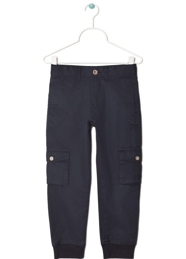 Solid colour cargo trousers in twill | OVS