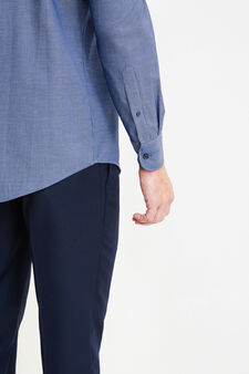 Regular-fit, cotton formal shirt with micro pattern, Dark Blue, hi-res
