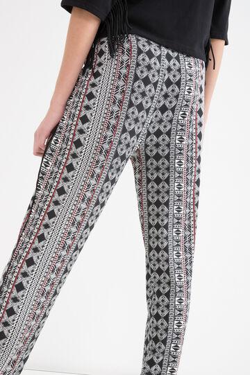Pantaloni stretch con fantasia, Nero/Rosso, hi-res