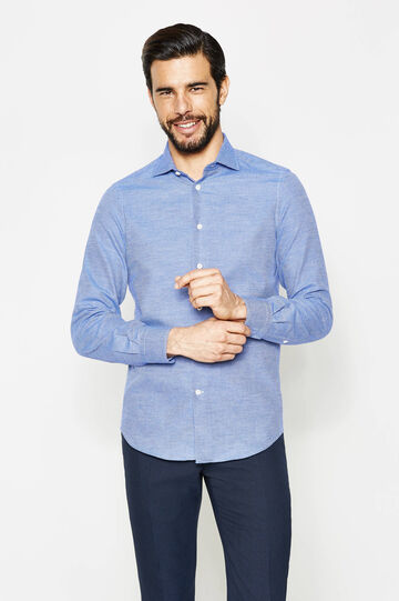 Slim-fit formal shirt with diamond pattern, White/Blue, hi-res