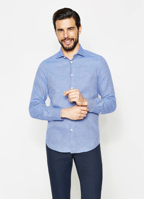 Slim-fit formal shirt with diamond pattern | OVS