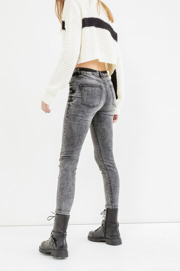 Mis-dyed effect skinny-fit stretch jeans with high waist, Black, hi-res