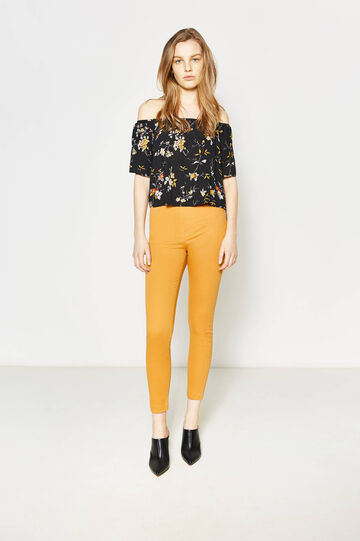 High-waisted trousers in stretch cotton, Sunflower Yellow, hi-res