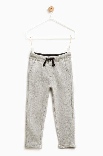 Pantaloni tuta mélange con coulisse, Bianco/Nero, hi-res