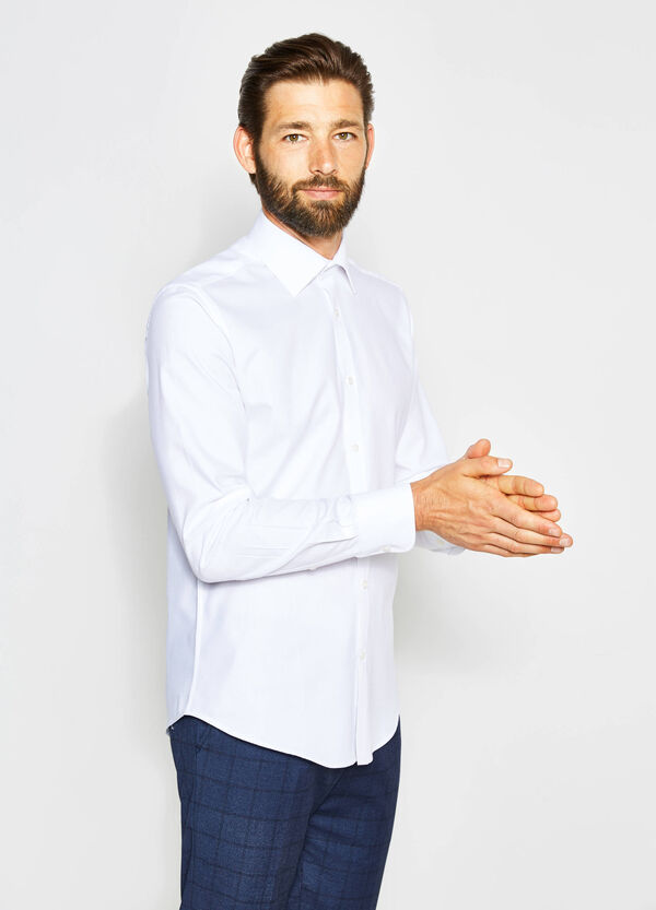 Slim-fit formal shirt with speckled weave | OVS