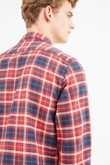 G&H casual check shirt in cotton, Blue/Red, hi-res