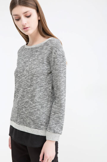 Cotton blend mélange sweatshirt.
