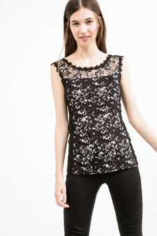 Stretch vest top with floral embroidery, Black, hi-res