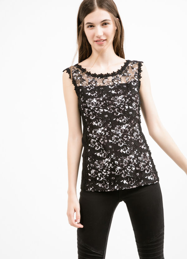 Stretch vest top with floral embroidery | OVS