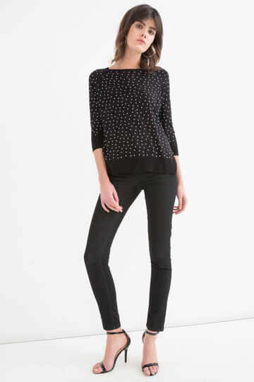100% viscose pullover with heart pattern, Black, hi-res