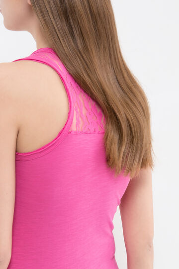 100% cotton top with lace, Fuchsia, hi-res