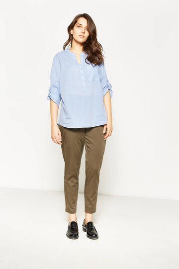 Pantaloni in cotone stretch Curvy, Beige scuro, hi-res
