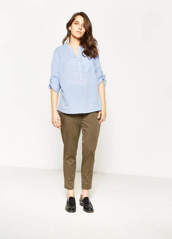Curvy stretch cotton trousers | OVS
