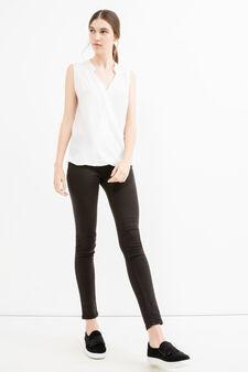 Sleeveless V-neck blouse in 100% viscose, Off-white, hi-res