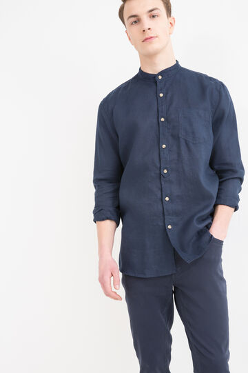 100% linen shirt with mandarin collar., Blue, hi-res