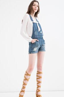 Salopette corta di jeans strappi, Lavaggio medio, hi-res