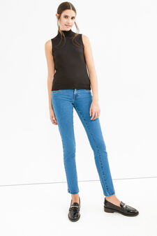 Solid colour skinny fit stretch jeans, Medium Wash, hi-res