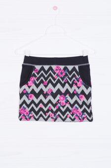 100% cotton patterned skirt, Grey/Pink, hi-res