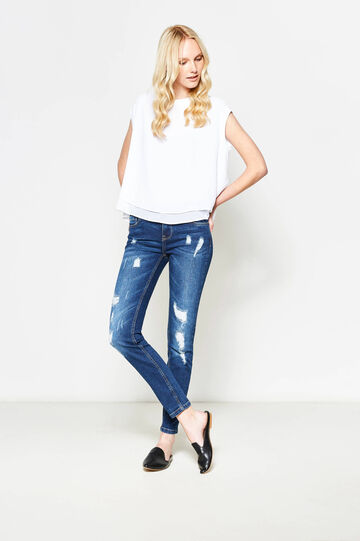 Ripped, skinny-fit stretch jeans, Dark Blue, hi-res