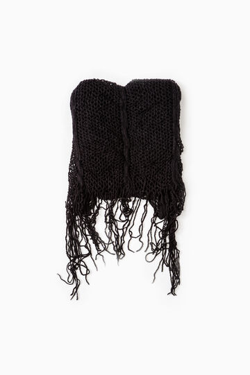 Openwork scarf with fringe, Black, hi-res