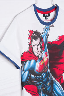 Cotton outfit with Superman print, White/Blue, hi-res