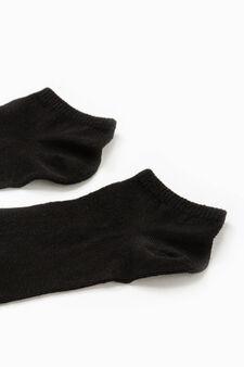 Set due paia di calze corte tinta unita, Nero, hi-res
