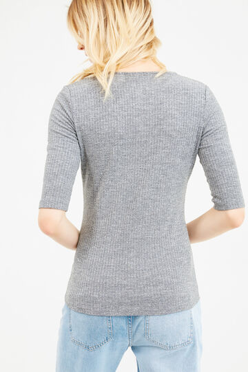 Stretch T-shirt with elbow-length sleeves, Grey Marl, hi-res