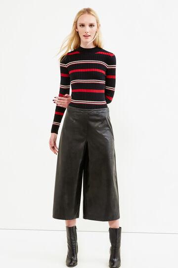 Striped ribbed pullover, Black/White, hi-res