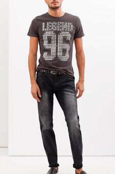 T-shirt con stampa lettering , Grigio, hi-res