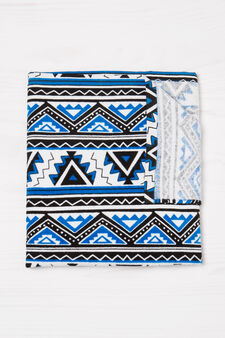 Cotton beach towel with pattern, Blue, hi-res