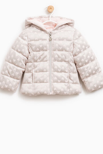 Down jacket with tulle insert with hearts, Grey/Pink, hi-res