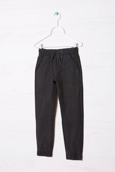 Mixed cotton trousers, Smoke Grey, hi-res
