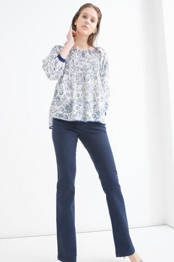 100% viscose printed blouse, White, hi-res