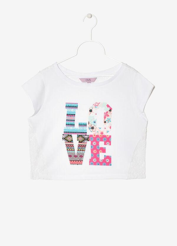 T-shirt corta con pizzo | OVS
