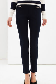 Stretch leggings with zip, Navy Blue, hi-res