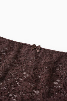 Solid colour colour stretch lace briefs, Chocolate Brown, hi-res