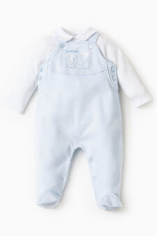 T-shirt and dungaree set with feet, White/Light Blue, hi-res