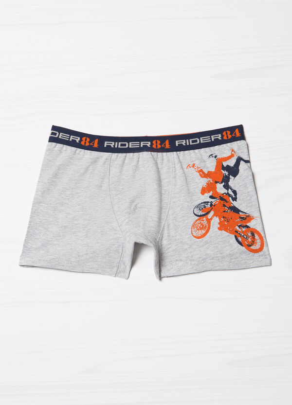 Stretch mèlange boxer shorts with print | OVS
