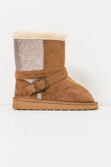 Solid colour ankle boots with glitter, Beige, hi-res