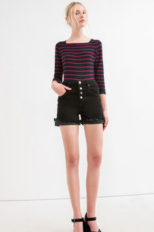 Striped pullover with three-quarter sleeves, Blue/Red, hi-res
