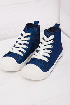 High-top sneakers with lurex and zip, Blue, hi-res