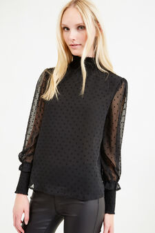 Blouse with long sleeves and high neck, Black, hi-res