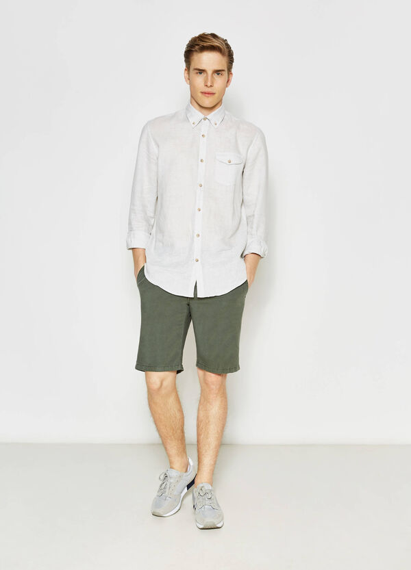 Regular-fit linen chino Bermuda shorts | OVS