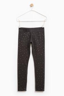Viscose and cotton leggings with diamantès, Black, hi-res