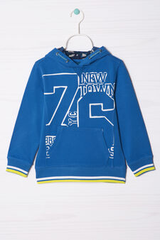 100% cotton sweatshirt with printed lettering, Royal Blue, hi-res