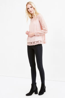 Blusa in pura viscosa con pizzo, Rosa, hi-res