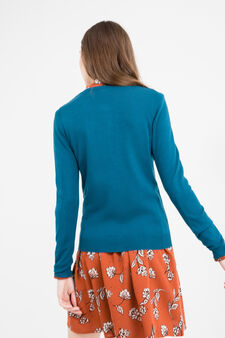 Viscose cardigan with contrasting buttons, Petrol Blue, hi-res