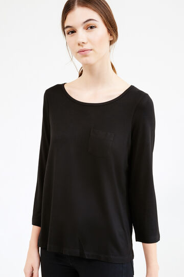 Stretch viscose T-shirt with polka dot insert, Black, hi-res
